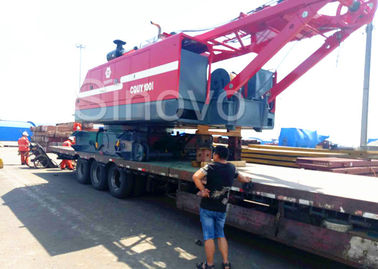 Red Color Low Ground Pressure Hydraulic Crawler Mounted Crane For Chemical Industry